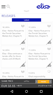 Elisa Investor Relations- screenshot thumbnail