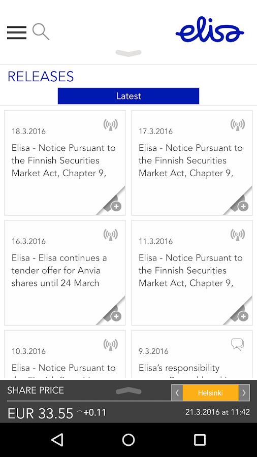 Elisa Investor Relations- screenshot