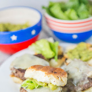 Aged Cheddar Sliders with Pineapple Guacamole.