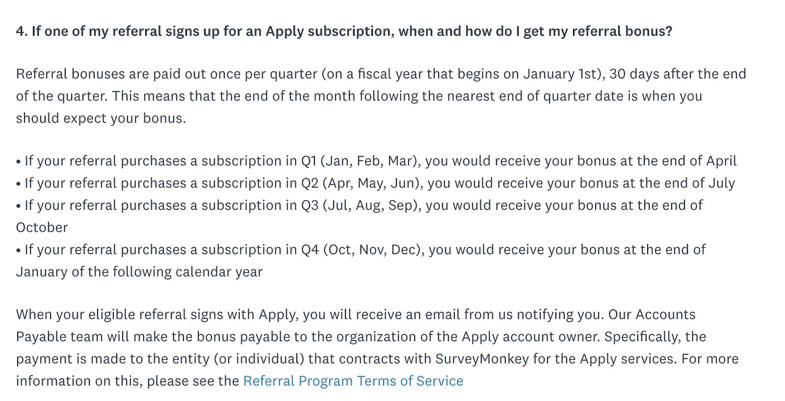 SurveyMonkey Referral Program FAQ page