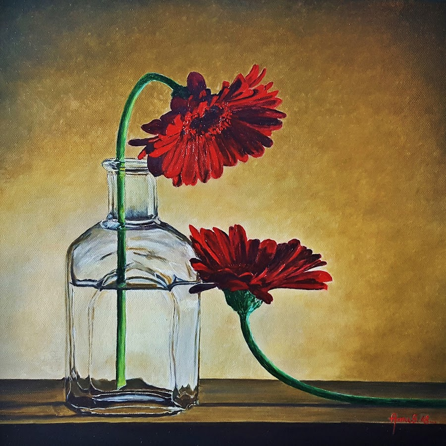 Love story by Amas Art - Painting All Painting ( love, red, flowers, gerbera )
