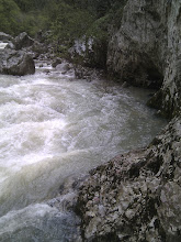 Photo: after hiking for 5 hours and nearly reaching the end of the gorge, our way is crossed by massive whitewater rapids of the high river... unfortunately we can't cross as the rapids are too powerfull and water too high... we have to turn back and return to where we started.. bummer.