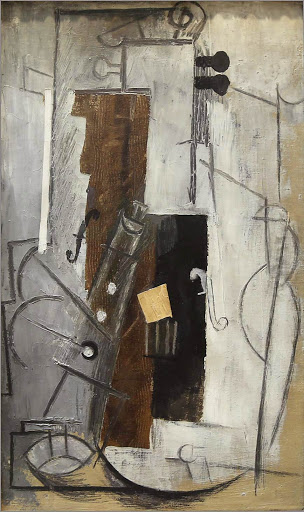 "picasso-tenora-and-violin.jpg -  Pablo Picasso, ""Tenora and Violin,"" 1913, oil on canvas, at the Hermitage at St. Petersburg, Russia."