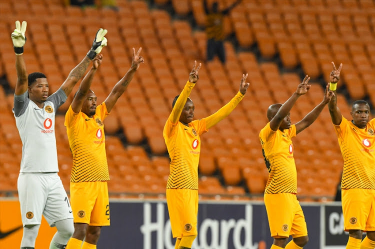 Kaizer Chiefs players during the CAF Confederation Cup match between Kaizer Chiefs and Zesco United at FNB Stadium on January 19, 2019 in Johannesburg, South Africa.