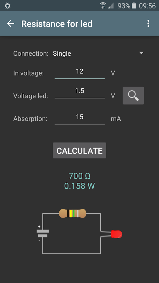 Electrical calculations- screenshot