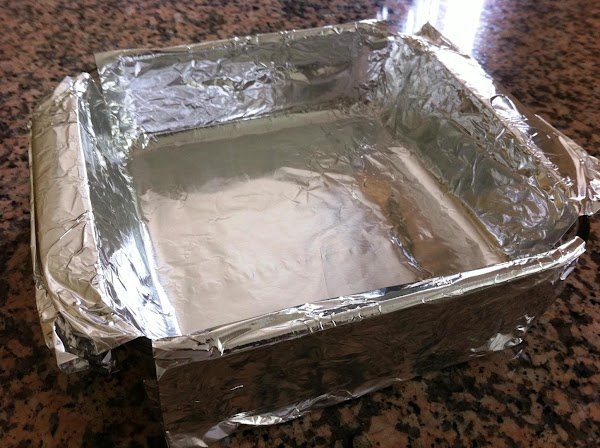 Line a 9x9-inch pan with aluminum foil. Spray foil with non-stick spray, set aside.