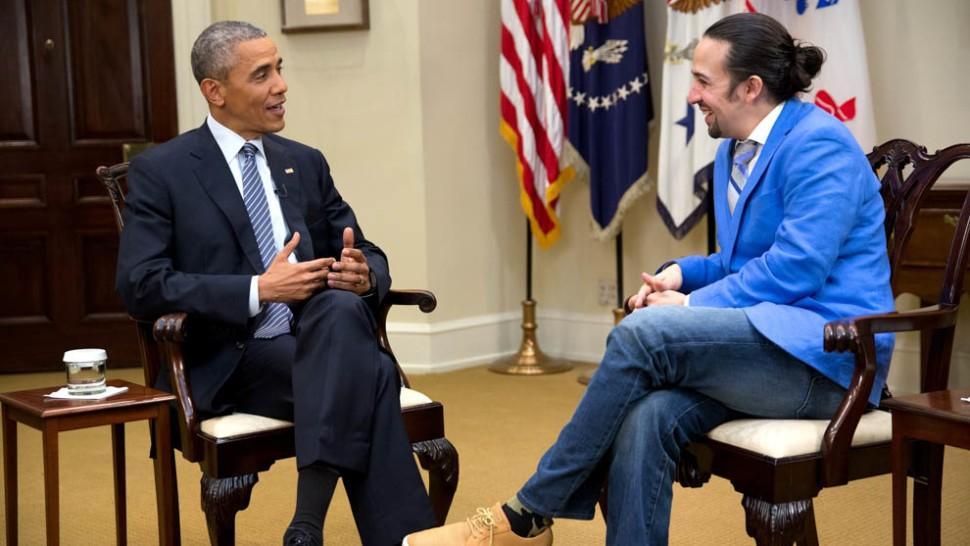 Lin Manuel Miranda y Barack Obama, en un encuentro posterior al estreno del musical en Broadway