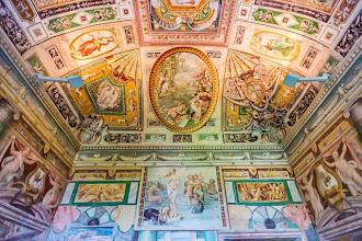 """Photo: The ceiling in the First Room or Tibertina or """"La Prima Sala Tiburtina"""" in Villa d'Este in Tivoli, Lazio, Italy"""