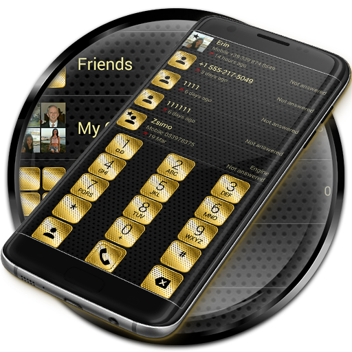 Dialer Metal Gold Dots Theme