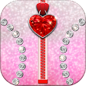Diamond Hearts Zipper Locker