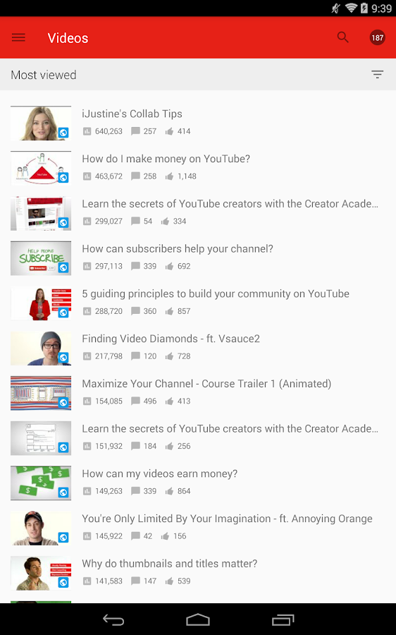 YouTube Creator Studio - screenshot