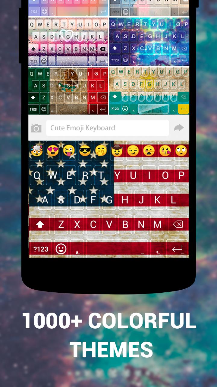Emoji Keyboard Cute Emoticons - Theme, GIF, Emoji Screenshot 1