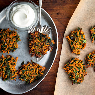 Spicy Carrot and Spinach Latkes