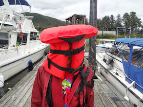 Photo: Gregory doesn't quite understand how life jackets work