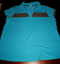 Photo: Duo Maternity Polo style Shirt. Turquoise with Heather Grey Stripe and mock layered sleeves. V Neck, Stretch 1X $3