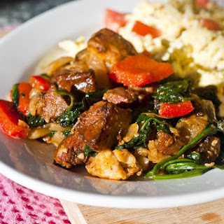 Potato Chorizo Hash with Spinach and Red Peppers