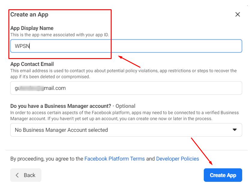 app display name Instagram access token