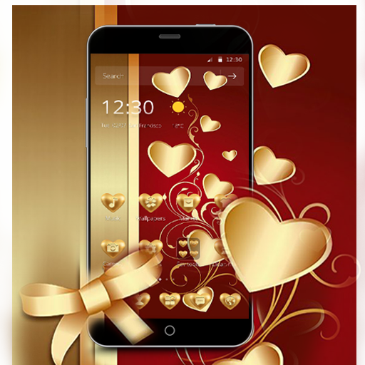 Red Gold Luxury Heart Theme