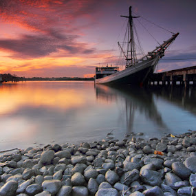 by Imansyah Putra - Landscapes Waterscapes ( clouds, red, waterscape, boats, stone, landscape, belitung,  )