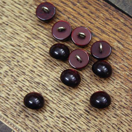 Halvklot Knapp 11mm - mörk vinröd