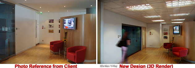 Photo: 3D/Architectural Visualisation:This is another 3d render of an office reception I have produced for Capital One