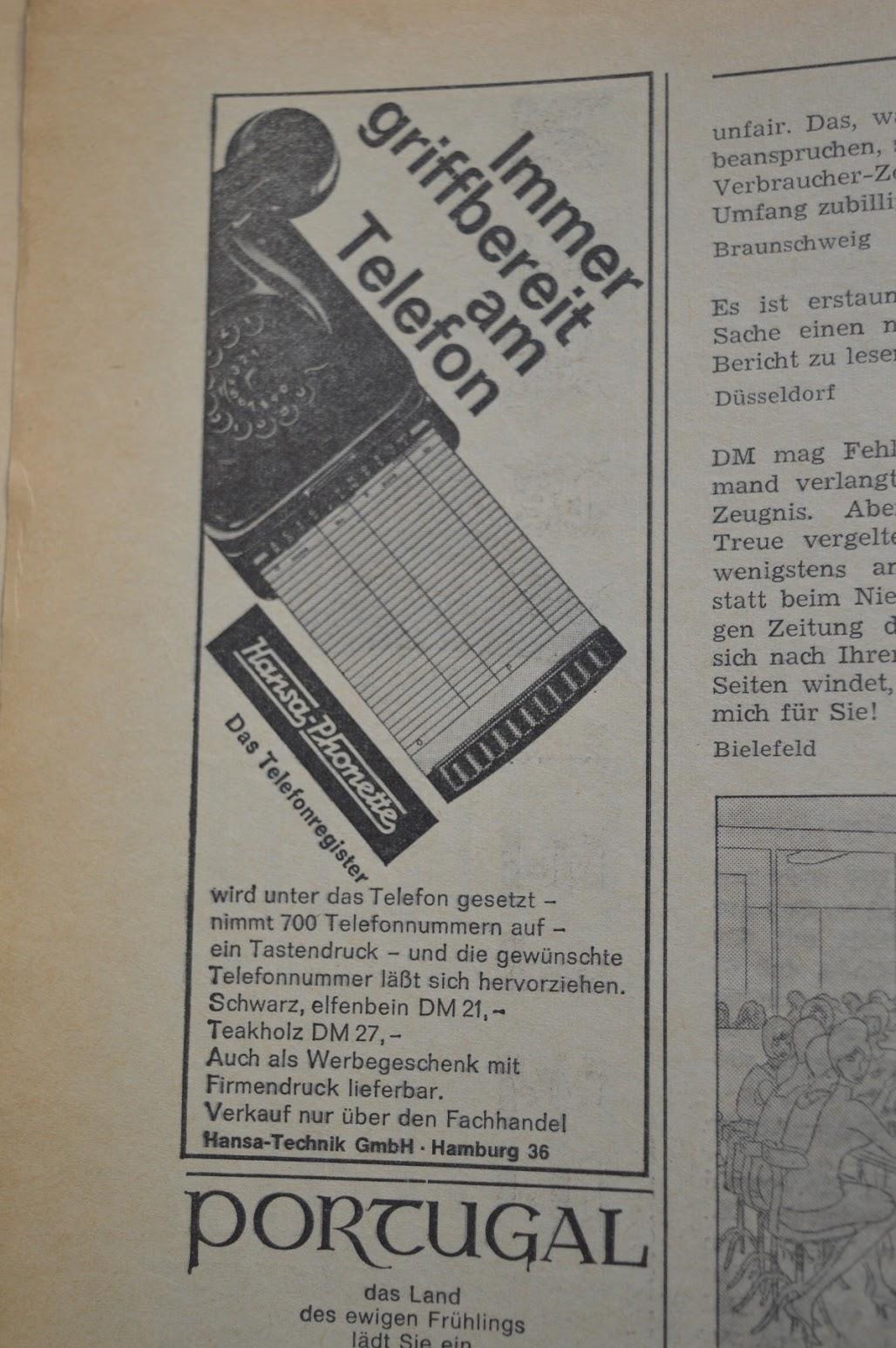 DER SPIEGEL, 29. April 1964 - Werbung für die Hansa Phonette
