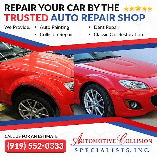 A before and after comparison photo of a red Mazda Miata hardtop convertible fender repair by Automotive Collision Specialists in Fuquay Varina NC.