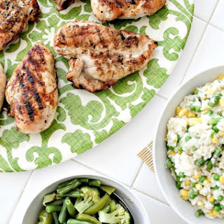 Grilled Lemon Chicken with Pea, Corn and Asparagus Risotto