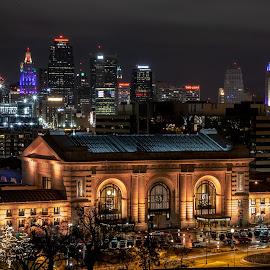 Kansas City's Union Station after dark by Shelle Wood - City,  Street & Park  Skylines ( city scape, union station, buildings, night, kansas city, skyline, travel, missouri, lights )