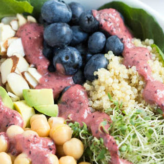 Spring Superfood Bowl with Blueberry-Ginger Dressing