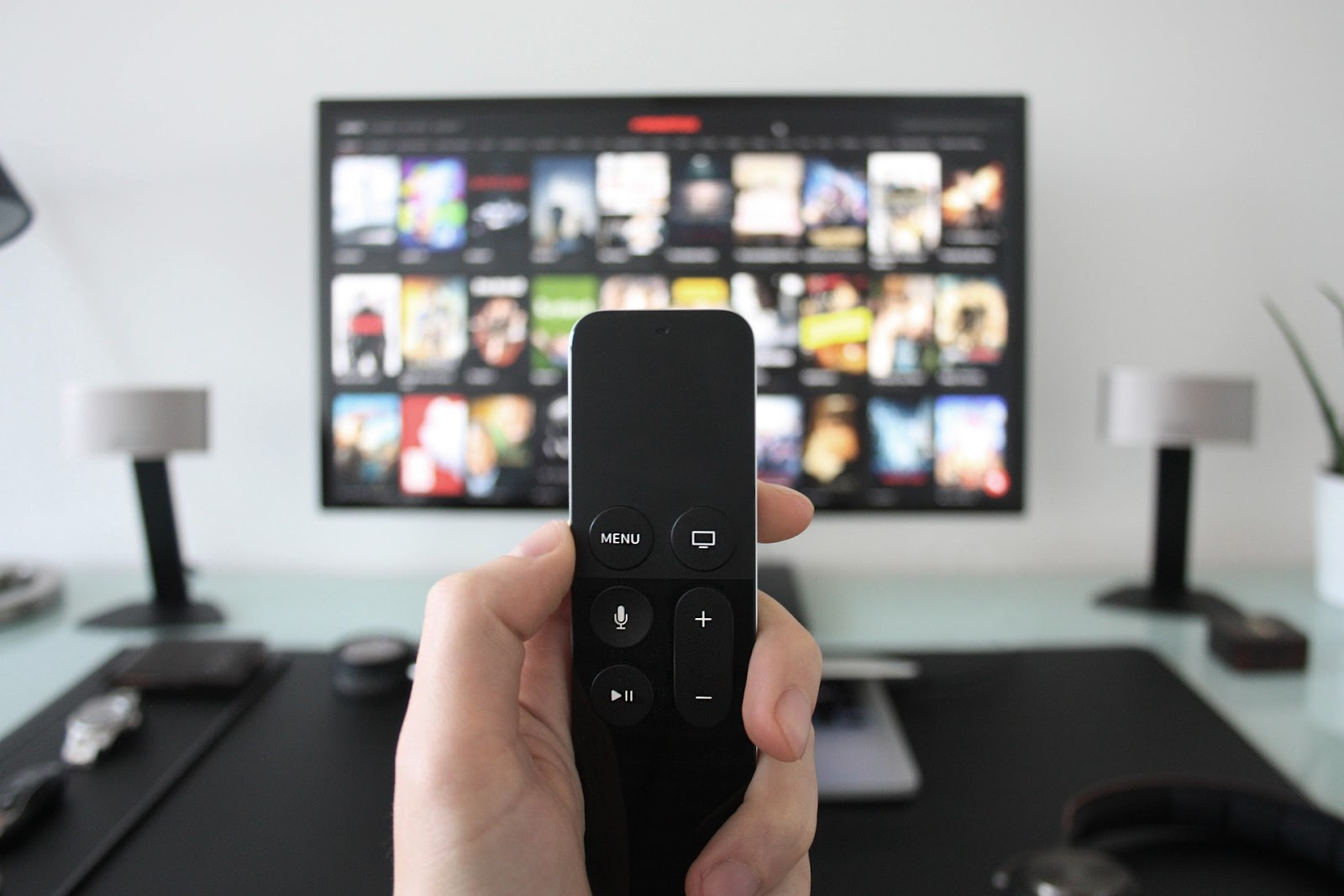 Remote control and netflix on a TV