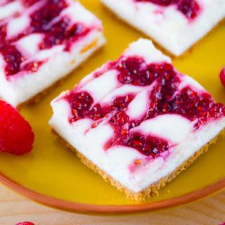 Skinny Raspberry Swirl Cheesecake Bars