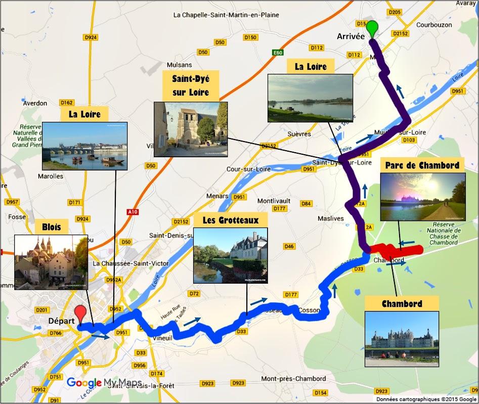 Tracé balade à vélo de Blois au château de Chambord par veloiledefrance.com