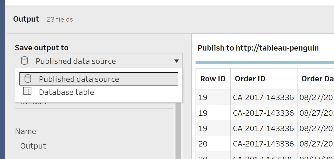 Saving your flows on Tableau Server