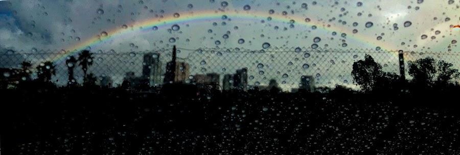 Soggy Skyline by Brendan Mcmenamy - Novices Only Abstract ( rainbow, rain, san diego, soggy, skyline )