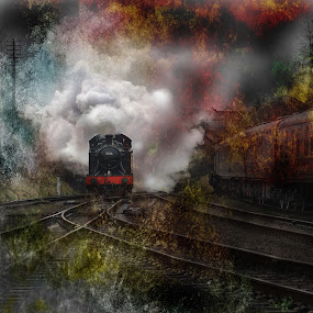 Raw Power by Martin Crush - Transportation Trains ( clouds, canon, great central railway, lucis pro 6, hdr, crush photojournalism, crush, textures, steam train, photojournalism, photography, colour, crush photography, railway, nature, locomotive, nikon, steam )