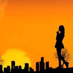 Hope of stranger by Berril Pratama - People Street & Candids ( orange, silhoute, girl, woman, sunset, senja, siluet, silhoutte, kota, hope )