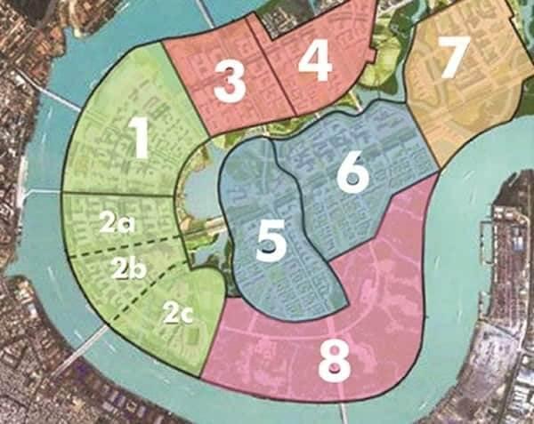 Các khu chức năng trong đô thị Thủ Thiêm