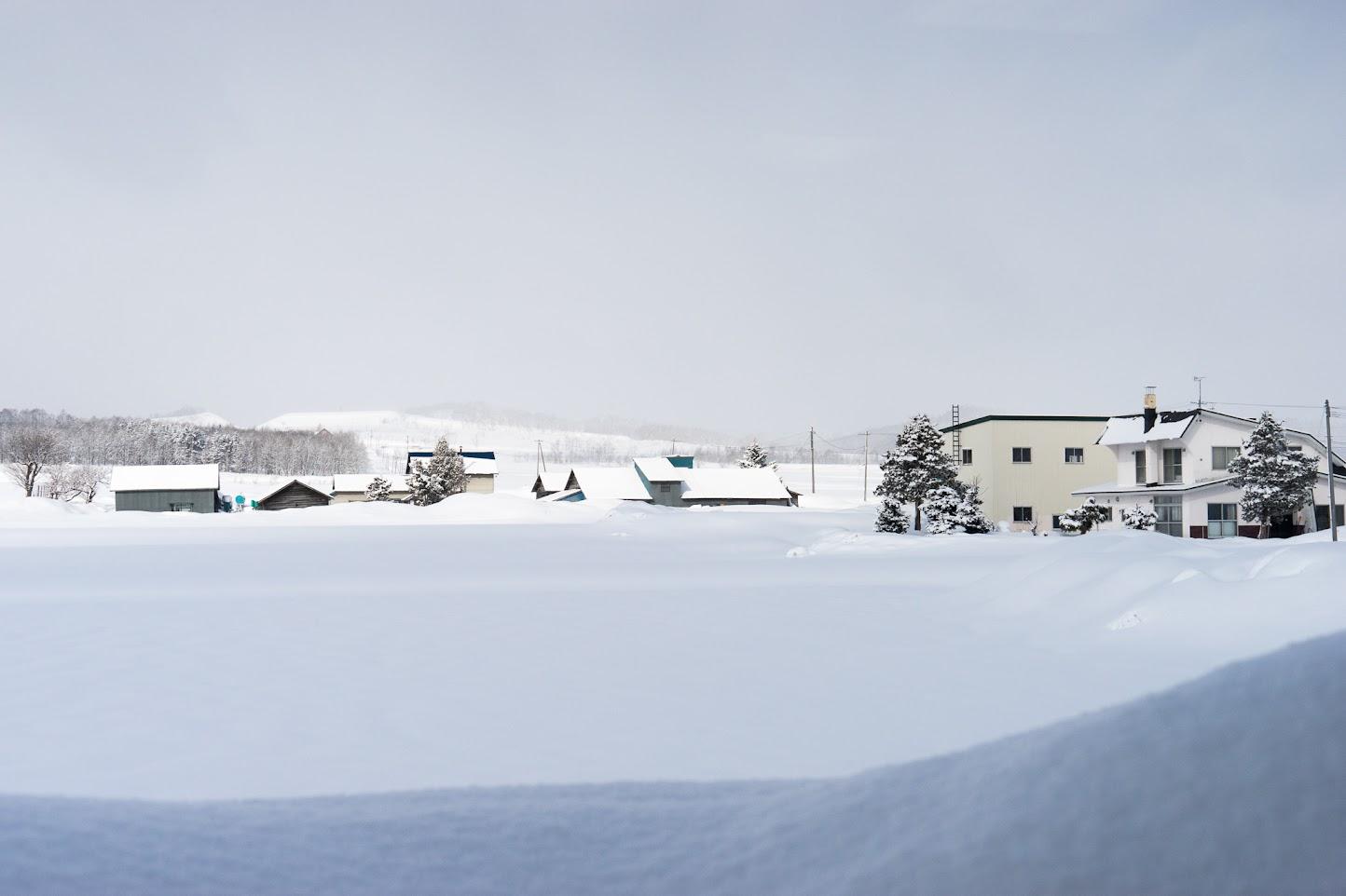 サンフラワーパーク北竜温泉からの見る冬景色