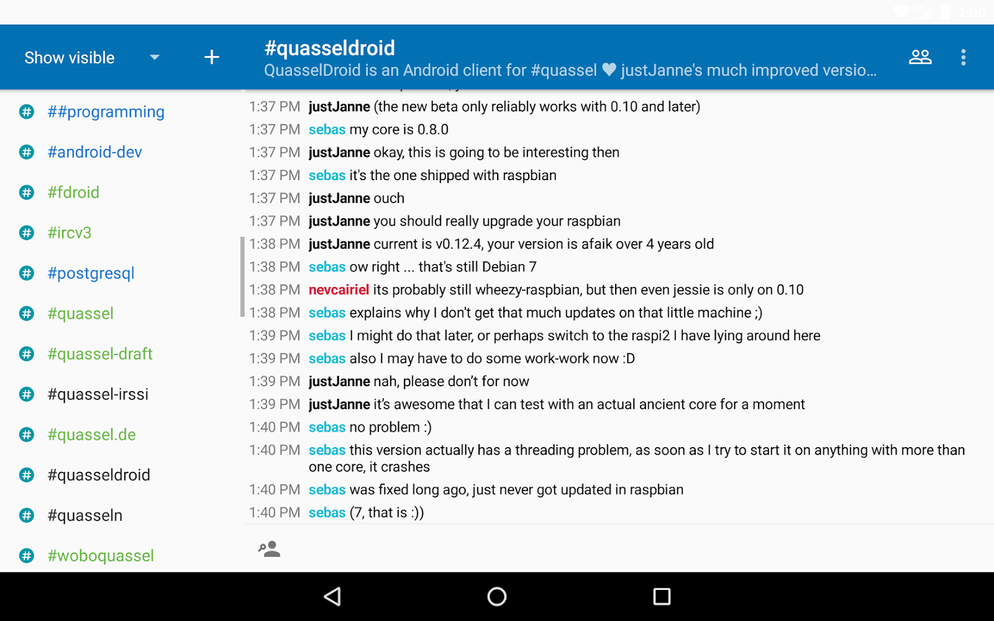 Quasseldroid- screenshot