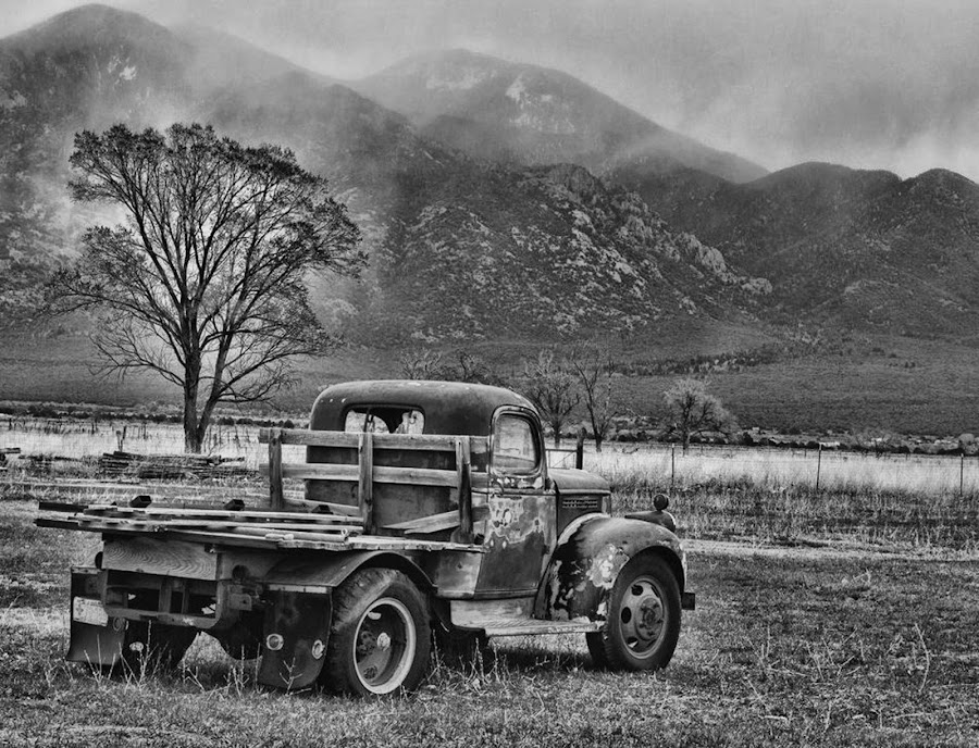 Abandoned by Bill Dickson - Transportation Automobiles ( truck, old truck xfarm, nm clouds )