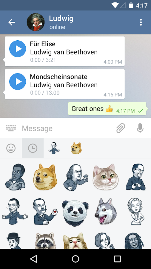 Screenshots of Telegram for Android