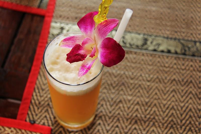 Fruit juice served in a public market in Siem Reap.