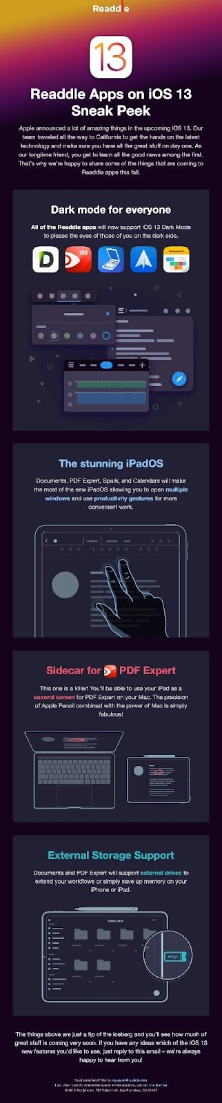 This email identifies the pain point of using traditional light modes on devices, which are known to cause eyestrain and other issues. The solution—Dark mode.