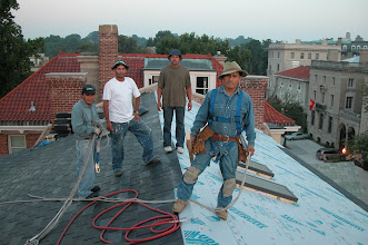 Photo: August 2005 - Month 24: Francisco, Hector, Jeremy and Indiana Jones (aka Zenom) on the roof! Awesome craftsmen!