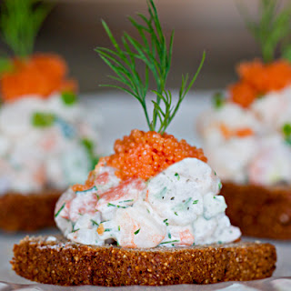 Toast Skagen (Shrimp Salad on Rye Toast).
