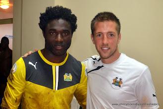 Photo: Solomon Zombo Morris with goalkeeping coach Andrew Sparkes [Leone Stars Vs. Equatorial Guinea, 7 Sept 2013 (Pic: Darren McKinstry)]