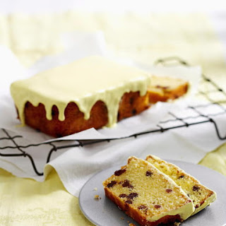 Golden Raisin Madeira Cake with Lemon Icing