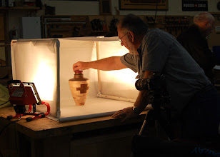 Photo: Hal Burdette photographing the Show & Tell table.