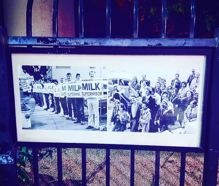 Pictures of Milk's supporters on view in Harvey Milk Plaza.